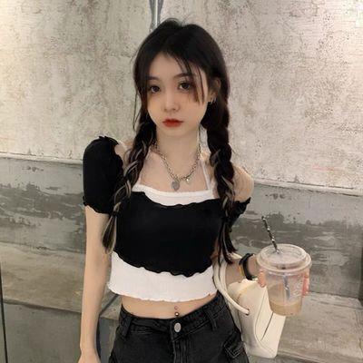 32784/2021年新款夏季甜美可爱日系显瘦短款露脐吊带蕾丝绑带两件套T恤