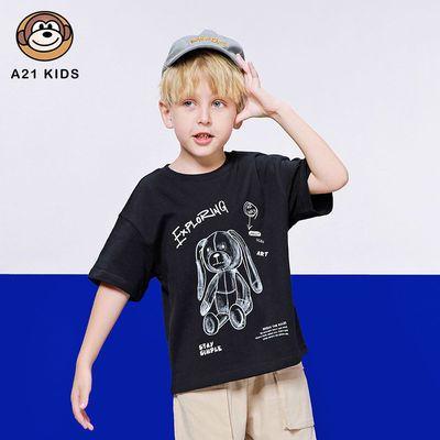 A21童装男童针织宽松圆领落肩短袖T恤衫大中童t恤R412331010