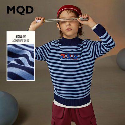 MQD童装男童高领针织衫2020冬装新款儿童多色条纹上衣百搭毛衣
