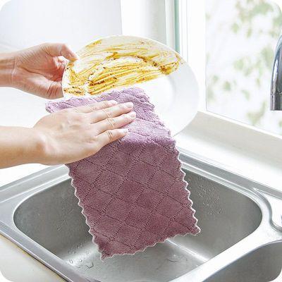 抹布不沾油不掉毛洗碗布去污吸水厨房专用百洁布擦手巾加厚毛巾