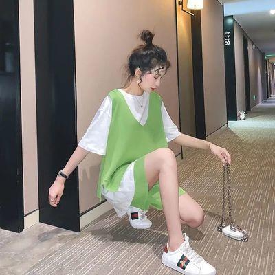 37760/2021新款三件套时尚休闲套装女运动网红洋气很仙的牛油果绿宽松夏