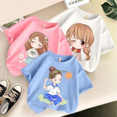 纯棉女童短袖t恤新款时髦中大童女孩夏装体恤衫儿童夏季童装上衣