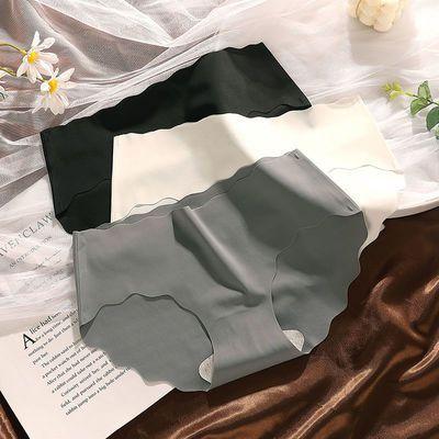 31313/1/3条 无痕冰丝内裤少女学生日系夏季清凉中腰透气薄三角裤黑白灰