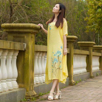 40081/夏季新品两件套棉麻连衣裙收腰显瘦圆领防晒衫