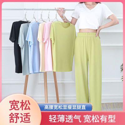 夏季新款冰丝套装两件短袖长裤子套装女家居服休闲宽松阔腿裤睡裤