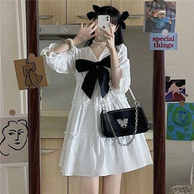 37086/设计感小众泡泡袖连衣裙女2021夏新款法式甜美白色裙森系公主裙子