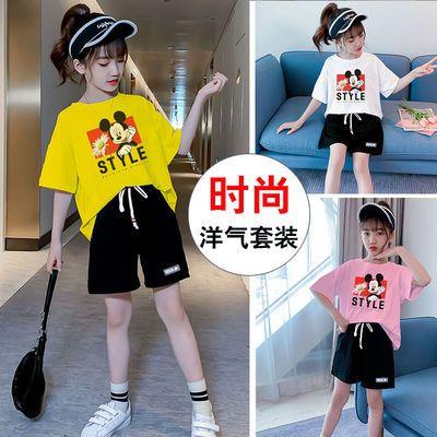 女童套装夏装新款2021洋气针织短裤夏季中大童女孩宽松运动两件套