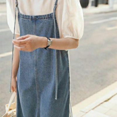 60842/新款2021夏装背带连衣裙女韩版宽松显瘦中长款开叉复古牛仔吊带裙