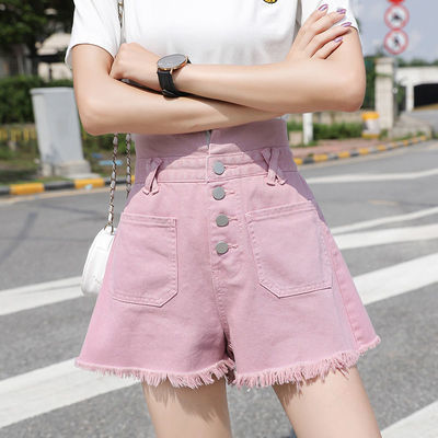 31461/网红紫色牛仔短裤女夏2020新款宽松排扣高腰显瘦毛边a字阔腿热裤