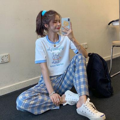 38935/单/套装夏装新款学生韩版宽松短款T恤女格子休闲阔腿直筒裤两件套