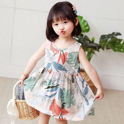 儿童裙子2021夏季无袖棉绸碎花公主女童连衣裙宝宝薄款吊带背心裙