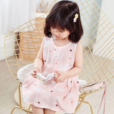 女童夏装连衣裙2021新款童装潮洋气小女孩棉绸裙夏季儿童裙子