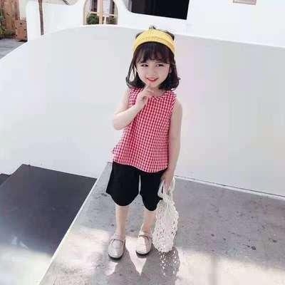 女童格子套装2021夏季新款儿童韩版时尚小女孩子休闲两件套潮品