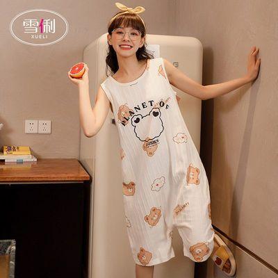 34357/雪俐棉质睡裙女夏季短袖可爱简约风大码宽松睡衣春夏可外穿家居服
