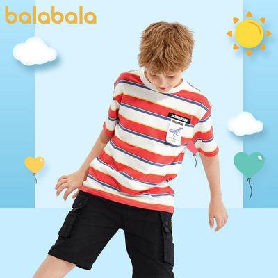 巴拉巴拉T恤2021夏季男中童简约时尚百搭T恤儿童短袖上衣男童T恤