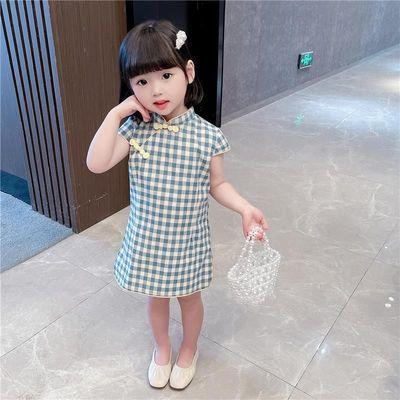 女童2021新款中国风宝宝旗袍夏季小童洋气汉服红格子盘扣连衣裙