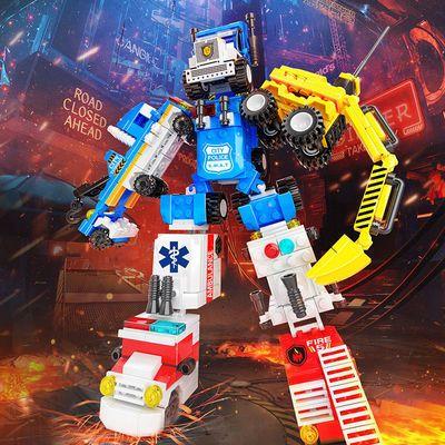 兼容乐高积木儿童益智力拼装汽车小颗粒变形机器人工程车男孩玩具