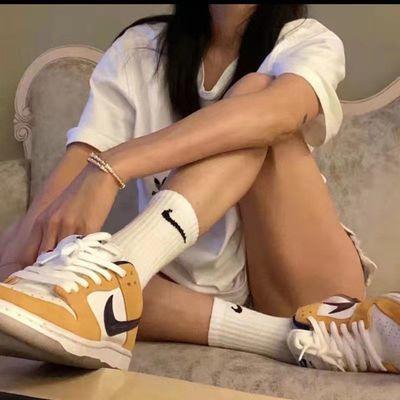 32153/NK勾勾袜韩版袜子女中筒纯棉袜短筒中筒运动袜篮球袜男女潮牌春夏