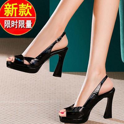 35446/凉鞋女夏2021季新款鱼嘴露趾凉鞋细高跟一字扣粗跟凉鞋女时尚外穿