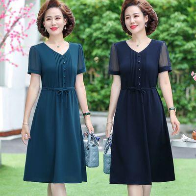 40969/气质妈妈夏装雪纺连衣裙2021新款大码女装洋气纯色减龄遮肚连衣裙