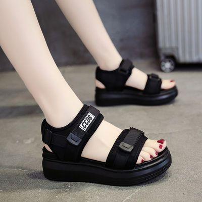 37278/运动凉鞋女2021年夏新款中跟老爹松糕鞋子厚底坡跟平底学生沙滩鞋