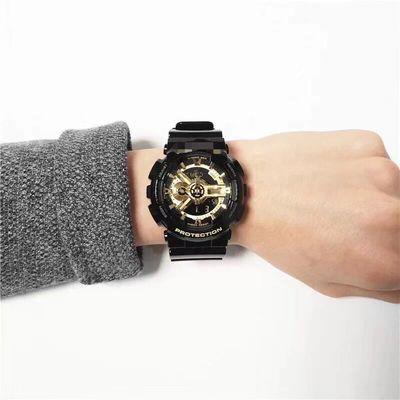 31860/多功能手表男女学生情侣透明表带黑橙防水电子抬手灯黑金黑武士表