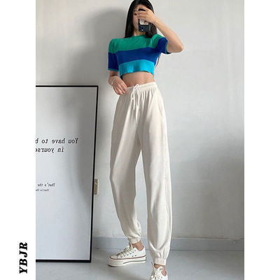 40759/YBJR 品牌夏季束脚冰丝运动休闲裤薄款女显瘦显高九分灯笼裤防蚊