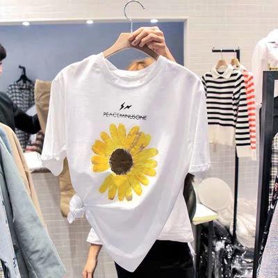 纯棉T恤女 2021夏季新款印花小雏菊体恤短袖圆领打底衫学生上衣