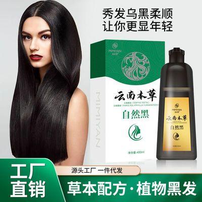 云南本草一洗黑洗发水黑色染发剂永久天然纯植物一支黑染发膏