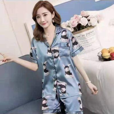 39793/睡衣女款冰丝薄款睡衣短袖上衣印花家居服