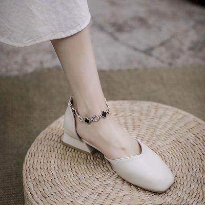 39134/包头凉鞋女仙女风中跟2021年夏季新款链条粗跟百搭温柔玛丽珍单鞋