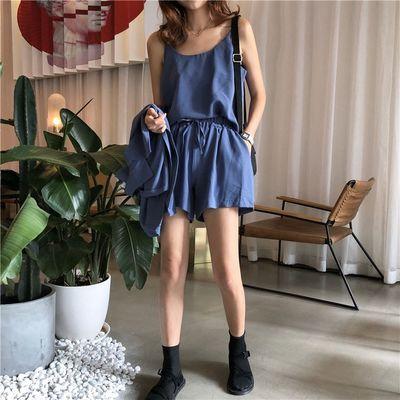 37797/2021春夏新款韩版女神范时尚三件套小吊带西装外套高腰短裤套装女