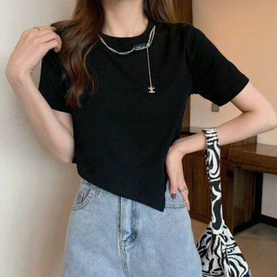 35126/2021夏季韩版修身显瘦设计感不规则短款露脐短袖T恤上衣女装