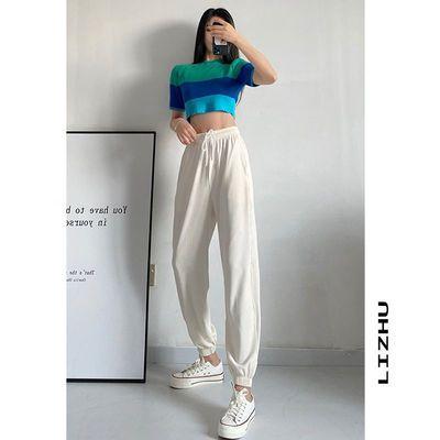 离珠 品牌宽松束脚冰丝运动休闲裤薄款女显瘦显高九分灯笼裤不透