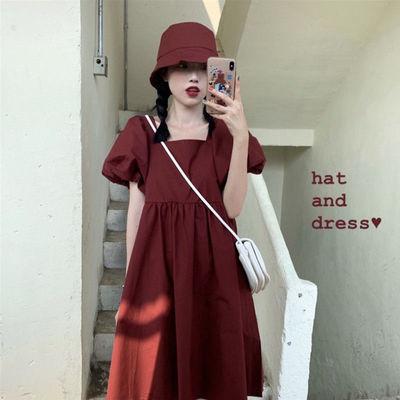 39734/纯色连衣裙2021新款方领泡泡袖A字裙洋气韩版宽松露背少女学生裙