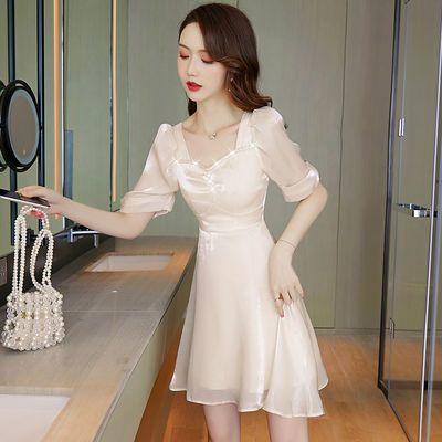 73716/赫本风礼服裙子平时可穿女夏季2021新款短款气质小个子性感连衣裙