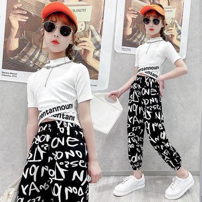 41353/雪纺运动休闲裤女2021新款女童夏装套装儿童洋气中大童短袖套装潮