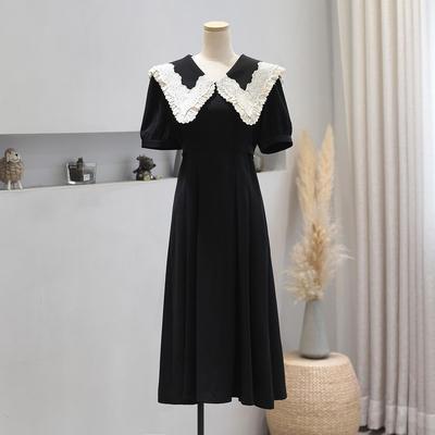 气质甜美蕾丝花边娃娃领收腰连衣裙2021夏季修身显瘦赫本小黑裙子