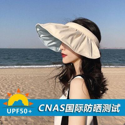 57078/焦下贝壳防晒帽子女遮阳大帽檐夏季遮脸新款紫外线空顶发箍太阳帽