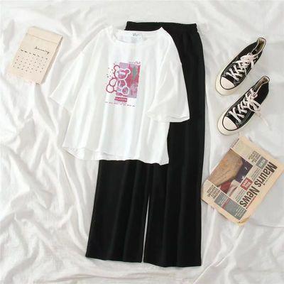 33772/单/套装夏季新款学生韩版宽松短款短袖T恤时尚休闲阔腿裤两件套女