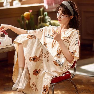37064/含棉量100%纯棉睡裙女夏季薄款短袖长款睡衣卡通可爱连衣裙家居服