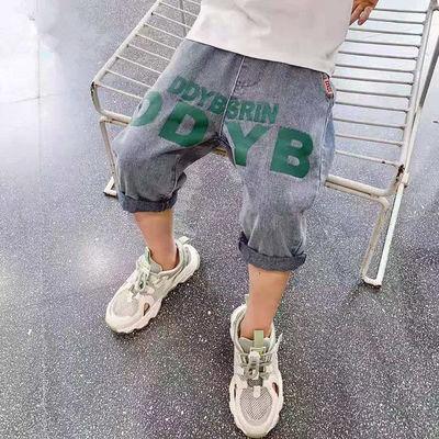 37758/夏季儿童七分裤新款中裤男童牛仔裤儿童马裤男孩子短裤韩版童裤