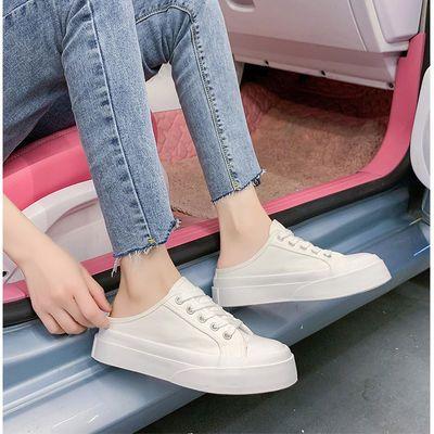 33316/拖鞋女孩半托大头帆布鞋女学生韩版布鞋女鞋2021新款潮小白鞋女款