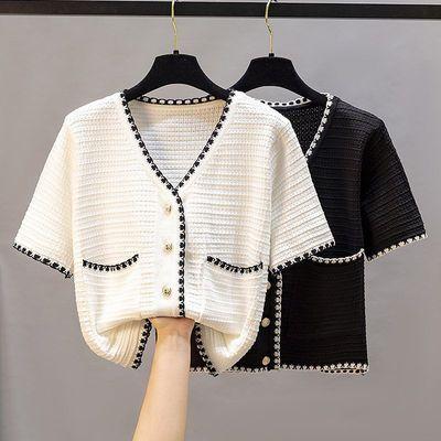 39904/小香风冰丝短袖上衣女2021新款韩版针织开衫夏季薄款百搭小外套潮