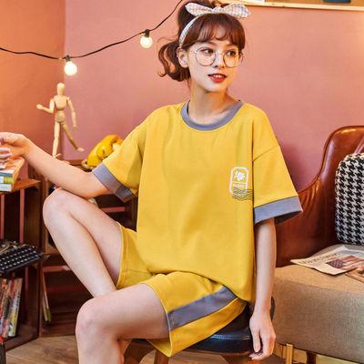 33608/睡衣女夏短袖短裤套装薄款可爱韩版宽松大码舒适家居服可外穿套装