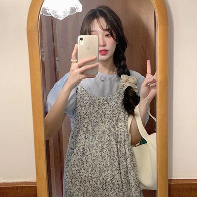 36460/夏季碎花吊带连衣裙气质泡泡袖上衣2021新款长裙可盐可盐两件套装