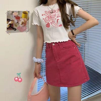 34245/新款红色牛仔A字半身裙女学生韩版夏季新款高腰显瘦款