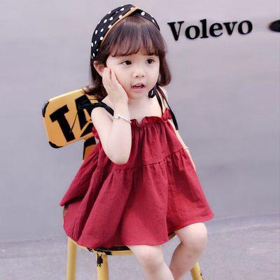 【100%全棉】2021女童夏季新款时髦全棉吊带背心儿童连衣裙吊带裙