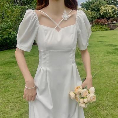 法式小众初恋仙女裙夏装2021新款气质收腰显瘦温柔风白色连衣裙女