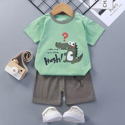 儿童短袖套装男童女童2021夏季新款纯棉舒适韩版t恤套装童装